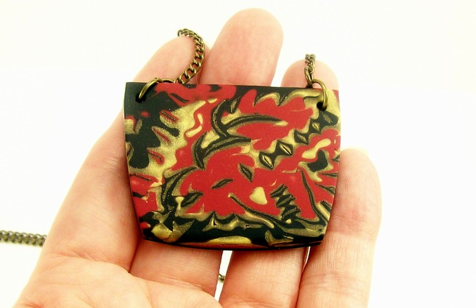 Abstract Polymer Clay Pendant Necklace, Red Black & Gold Hangs On Brass Chain