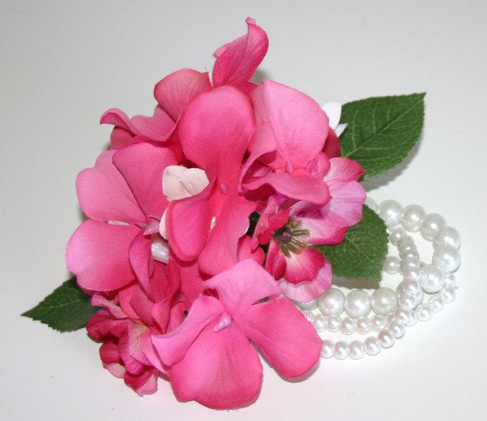 Keepsake wrist corsage bracelet by uniquelyyoufloral on zibbet keepsake wrist corsage bracelet re usable corsage silk flowers pink and mightylinksfo
