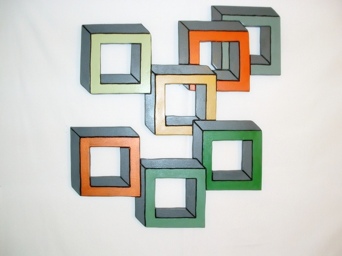Abstract, Dream of Squares, Handmade Wood working for Home Decor.
