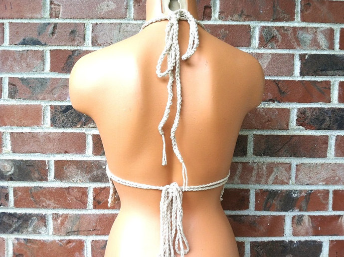 Crochet Hippie Cream Beige Halter Top, Crochet Top by Vikni Designs