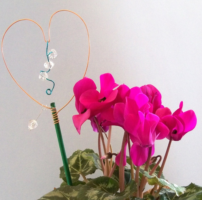 Love Your Plant Stakes Copper and Turquoise Decoration