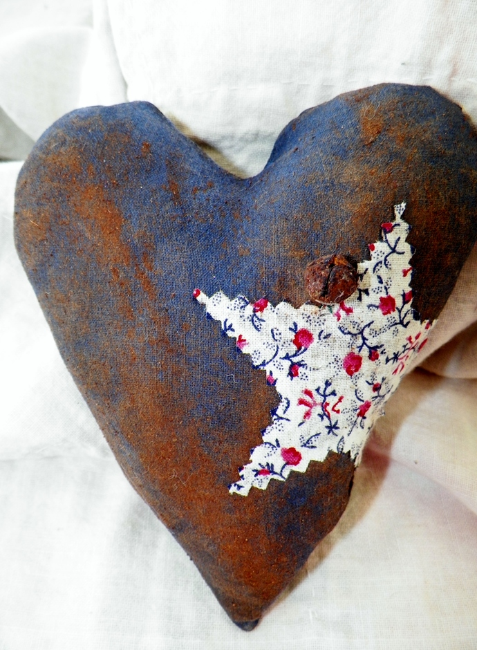 Blue With  Star Grungy Prim Heart