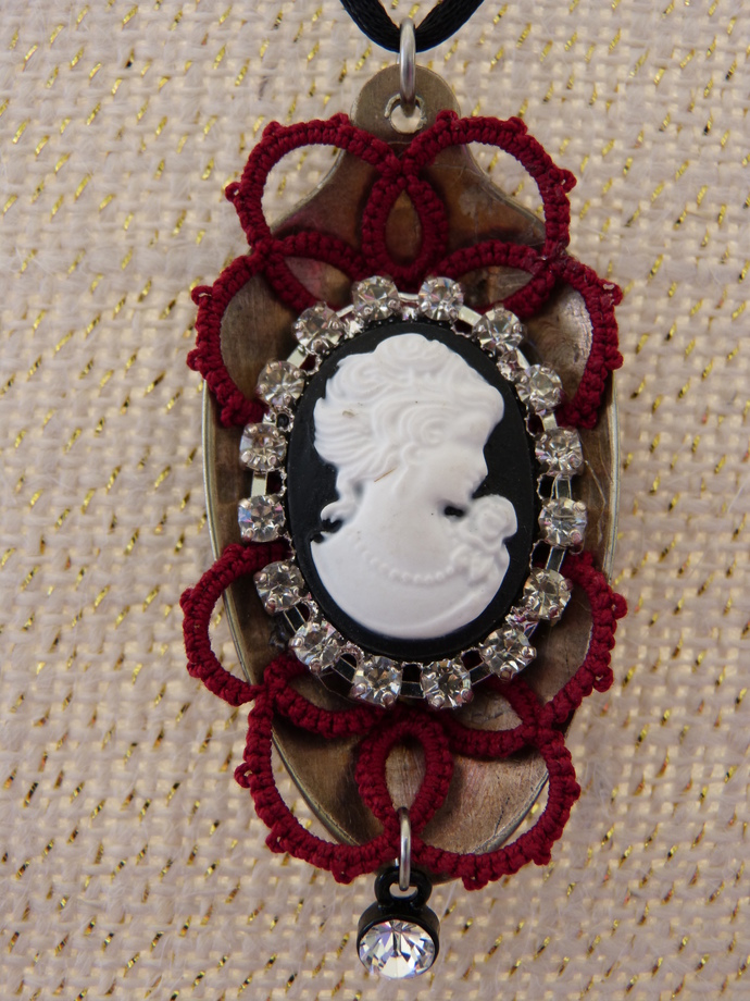 Red, Black and White Vintage Spoon Necklace
