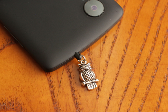 Cell phone charm with silver owl