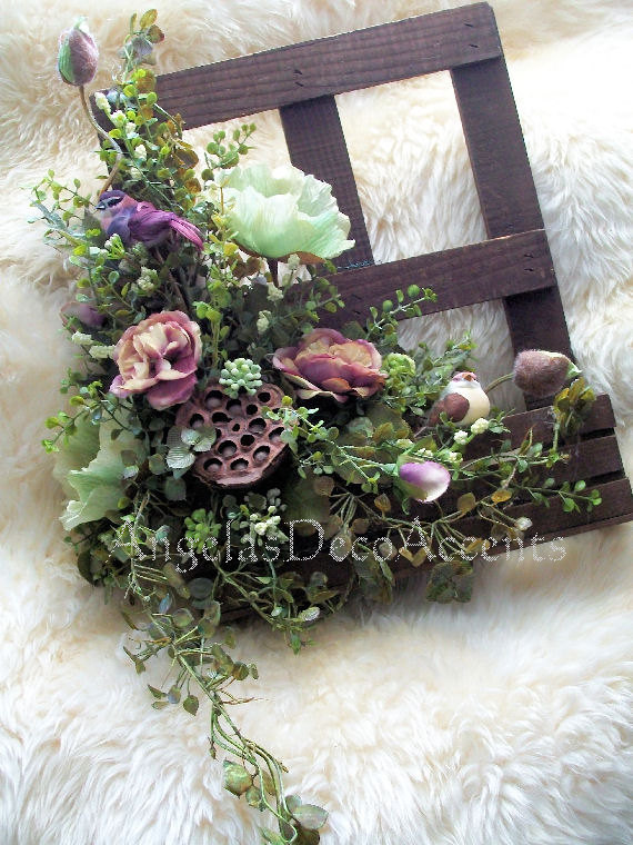 Faux Floral Wall Hanging, Fake Window with Box Arrangement, Cottage Chic, Shabby