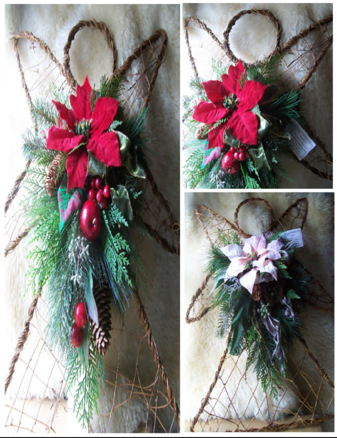 Angel Poinsettia Swags, Red Pink Tear Drops, Grapevine & Wire, Wall Door Decor,