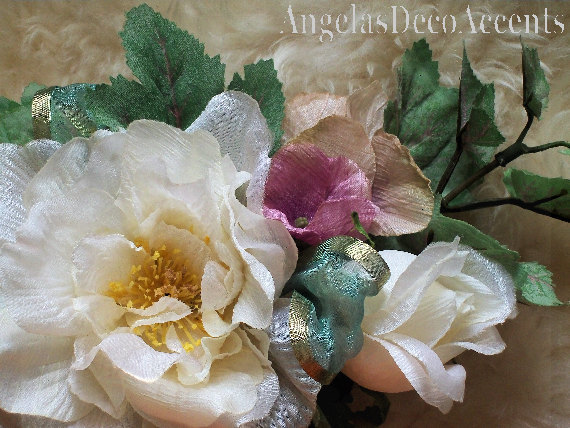 Silk floral corsage freeze dry look by angelasdecoraccents on zibbet silk floral corsage freeze dry look mothers pin on flowers victorian chic mightylinksfo