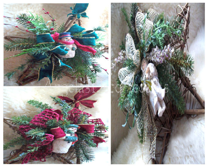 Winter Star Wreaths, Choices Start at 52 USD, Rustic Country Snowmen, Victorian