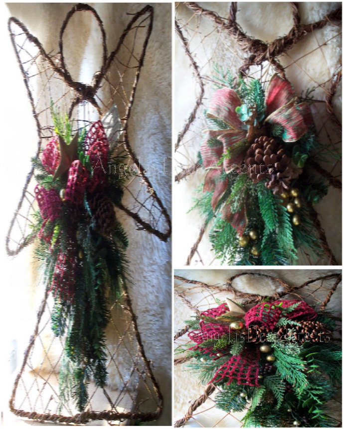 Angel Wreath Tear Drop Swags  25 x 20 Grapevine and Wire Wall Door