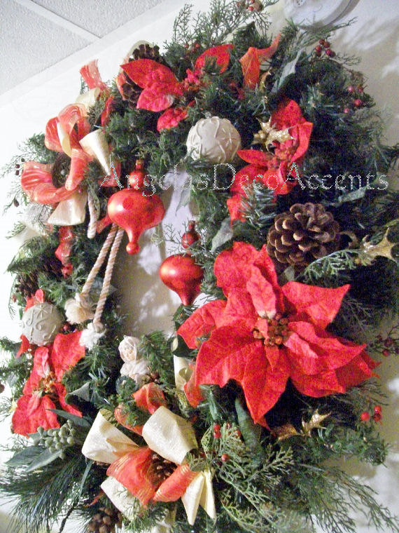 large christmas wreath 32 by 32 local delivery bus angel cording - Large Christmas Wreath