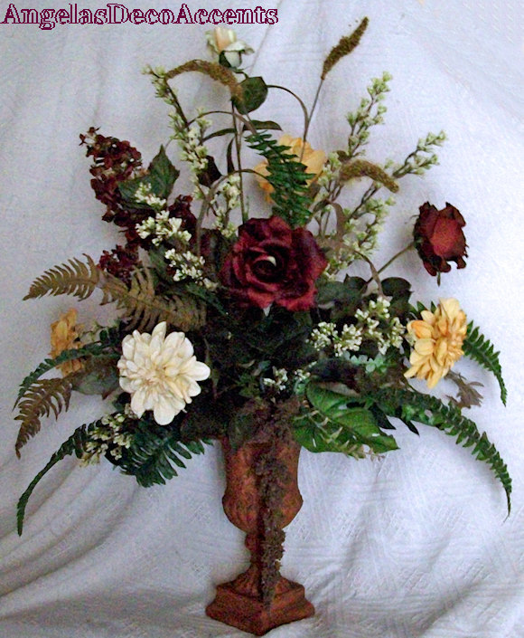Silk Floral Arrangement, Large Tuscany Fall Urn, Designer Faux Flowers, Local
