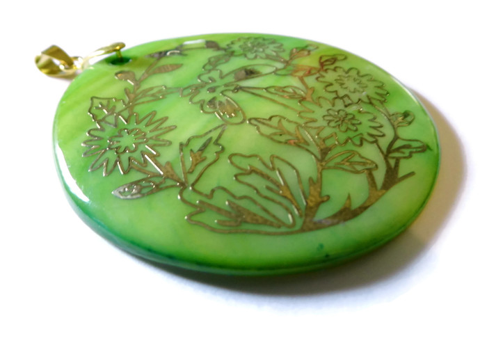 Bright Green Shell Pendant with Gold Embossing