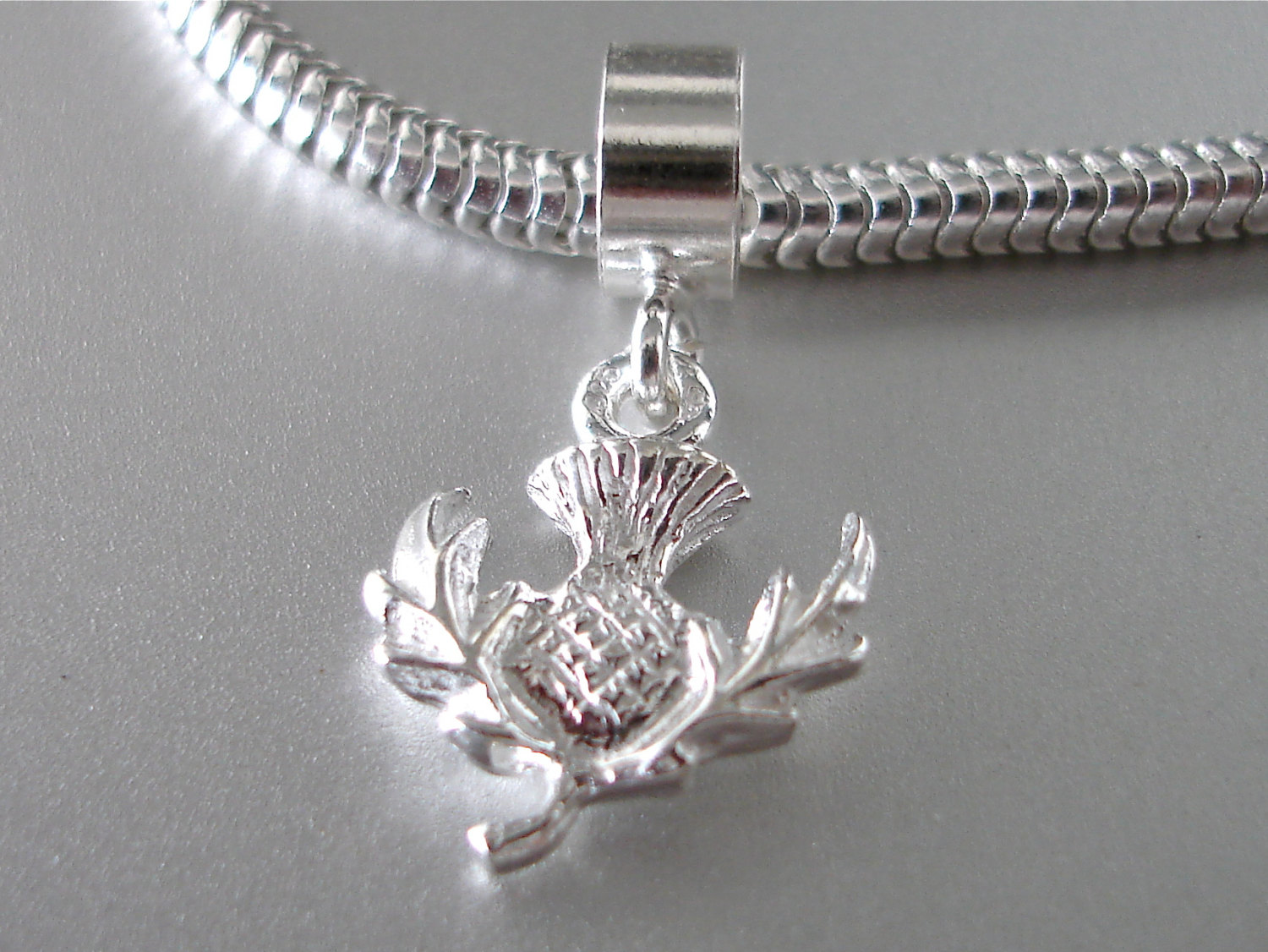 Scottish Thistle 3d Sterling Silver Charm By Silvercharms