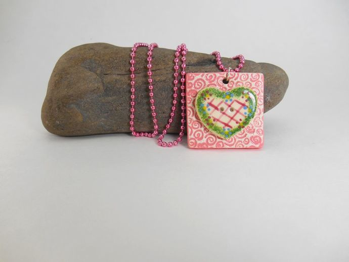 Pink Ceramic Tile and Vintage Ceramic Hand Painted Button Necklace
