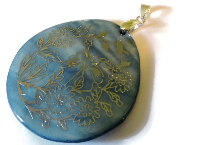 Sky Blue Shell Pendant, Gold Flower Pendant