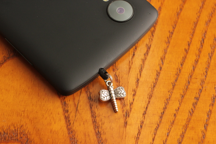 Cell phone charm with silver dragonfly