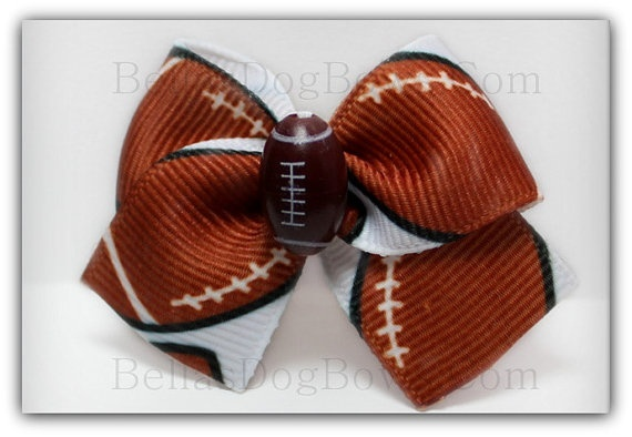Sporty Football Dog Bow ( 1-Inch Grosgrain Ribbon Casual Bow for either Girls or