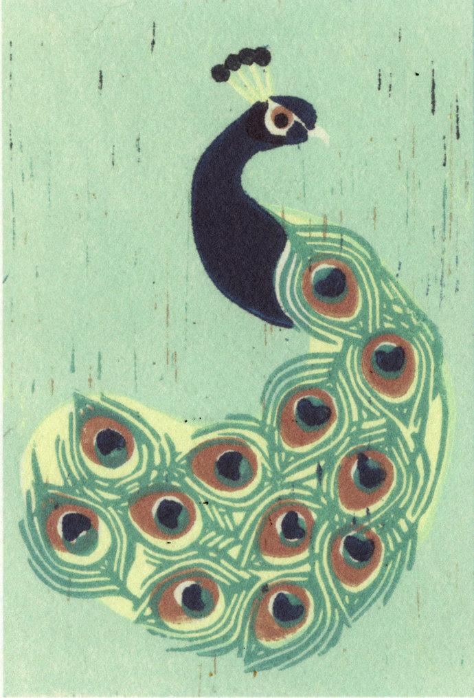 INDIAN PEACOCK Linocut Reproduction Art Print 5 x 7