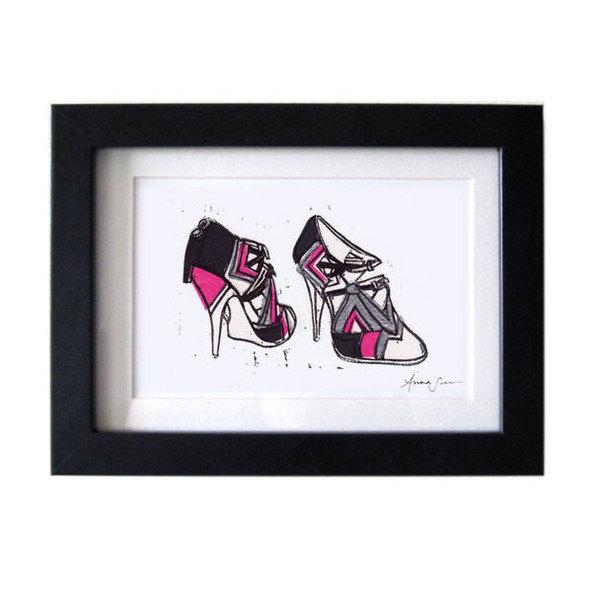 Miu Miu Geometric Runway Heels Linocut Print: 5 x 7