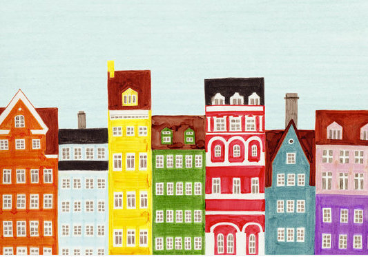 COPENHAGEN, DENMARK - 5 x 7 Colorful Illustration Art Print, Yellow, Green, Red,