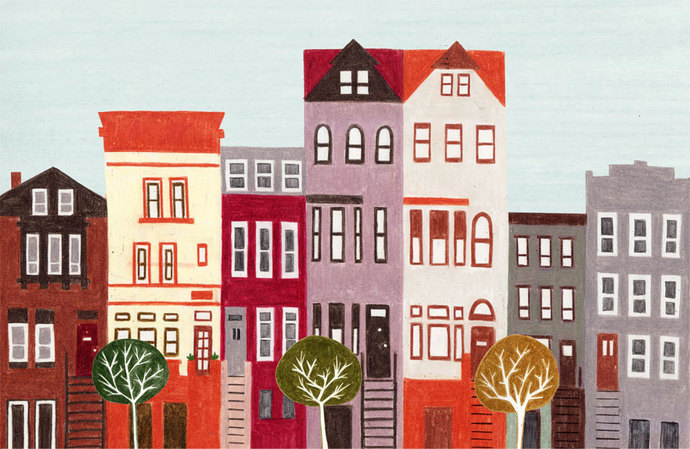 BROOKLYN, NEW YORK - 5 x 7 Colorful Illustration Art Print, Red, Brown, Wall