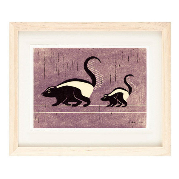 SKUNKS Linocut Reproduction Art Print 5 x 7
