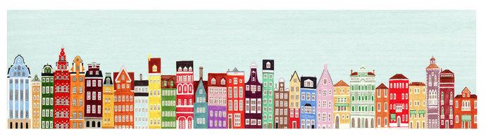 Colorful European Buildings Skyline Oversized Illustration Fine Art Giclee
