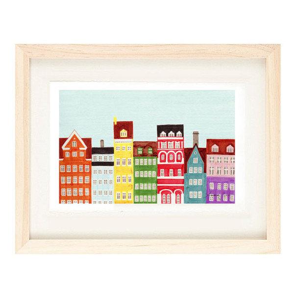 COPENHAGEN, DENMARK - Scandinavian Skyline Design Colorful Illustration Art