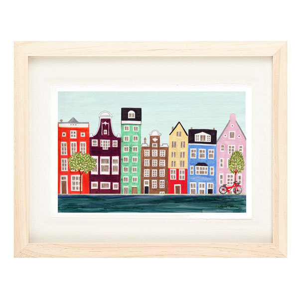 AMSTERDAM CANAL, NETHERLANDS - 5 x 7 Scandinavian Illustration Art Print, Canal,