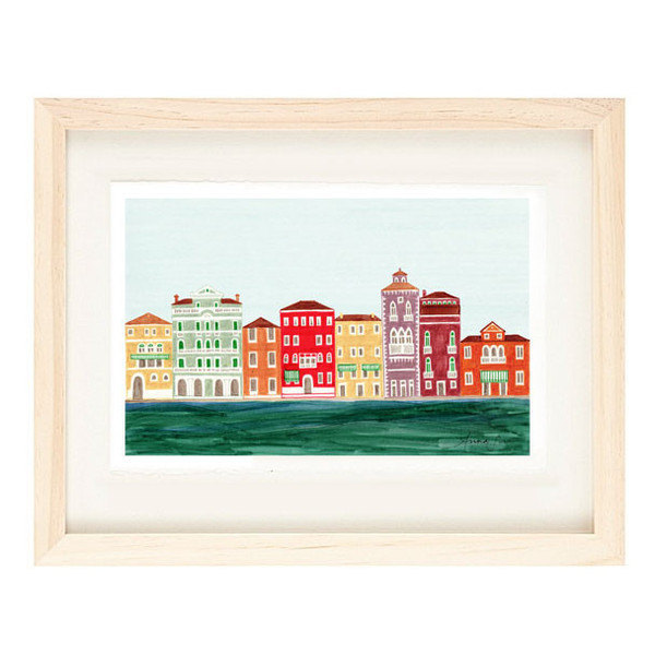 VENICE, ITALY - 5 x 7 Colorful Illustration Art Print, Venetian Architecture