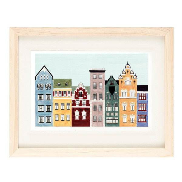 HELSINKI, FINLAND - 5 x 7 Colorful Illustration Art Print, Wall Decor, Buildings