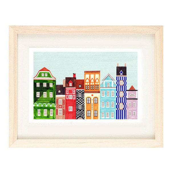 POZNAN, POLAND - 5 x 7 Colorful Skyline Illustration Art Print Of A Polish Town,