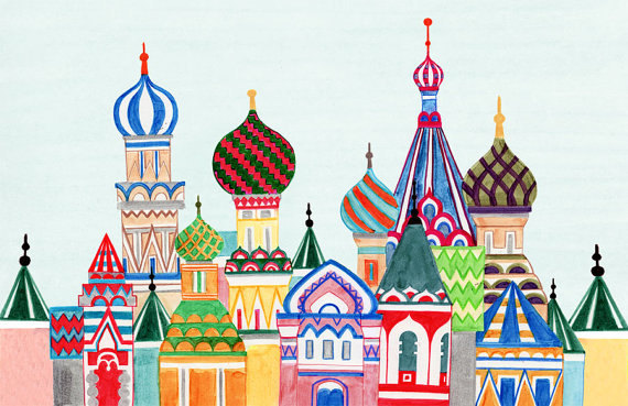 MOSCOW, RUSSIA - 5 x 7 Colorful Illustration Art Print, Red, Brown, Blue, Wall