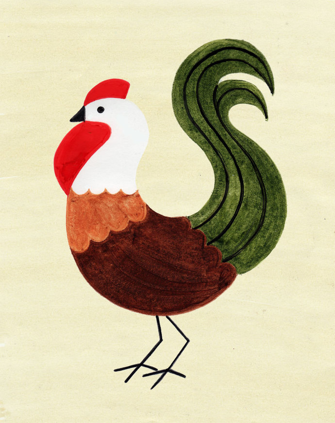 ROOSTER Vintage Retro Art Illustration Print, Chicken, Hen 5 x 7