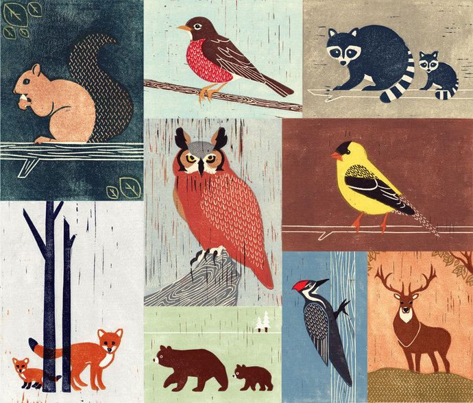 WOODLANDS ANIMALS - Birds, Owl, Fox, Raccoon, Squirrel, Robin, Bear, Woodpecker,