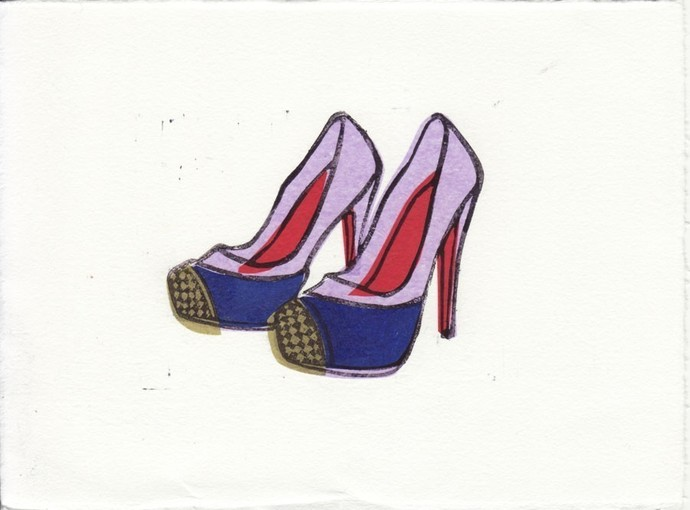 Christian Louboutin Maggie Shoes Linocut Hand-Pulled Art Print: 5 x 7