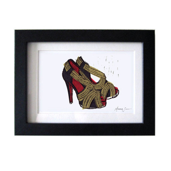 Christian Louboutin Josefa Shoes Linocut Hand-Pulled Art Print: 5 x 7