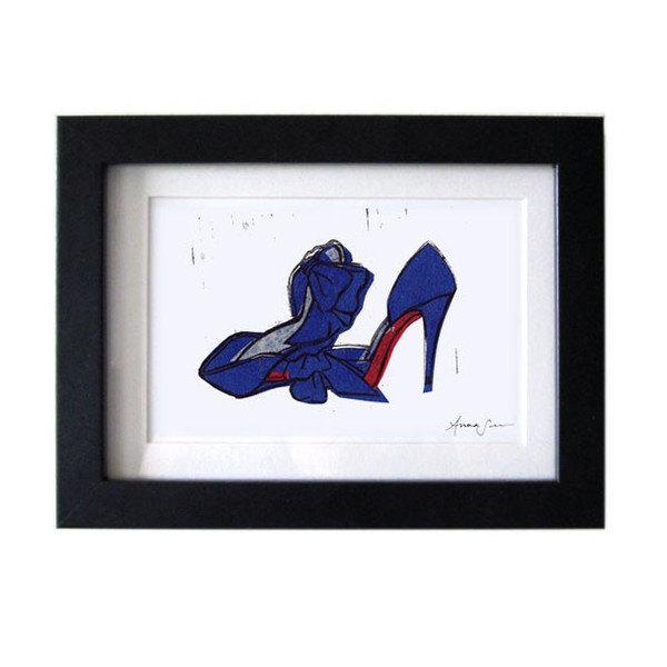 Christian Louboutin T Dorcet Shoes Original Linocut Art Print 5 x 7