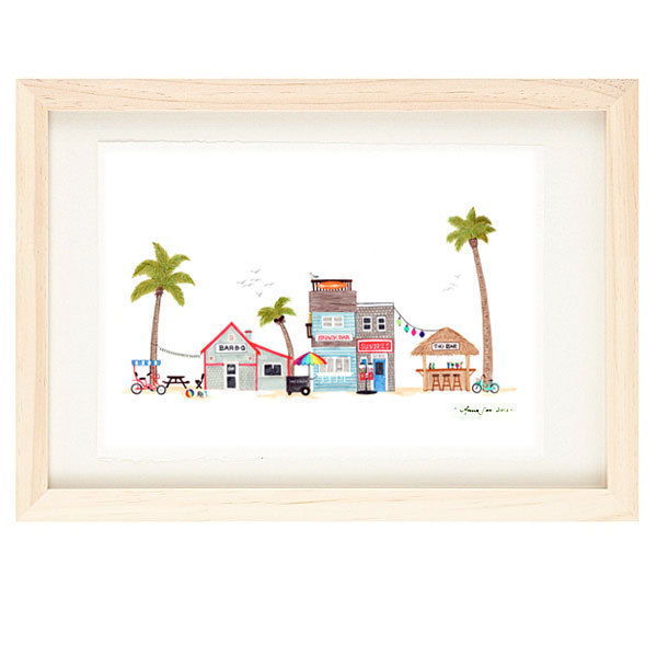 BEACH TOWN - Poster Size Seaside Village, Illustration Giclee Print, Surf, Sun,