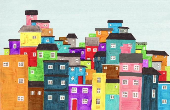 RIO DE JANEIRO, Brazil - Colorful Favela Illustration Art Print Poster 11 x 17,