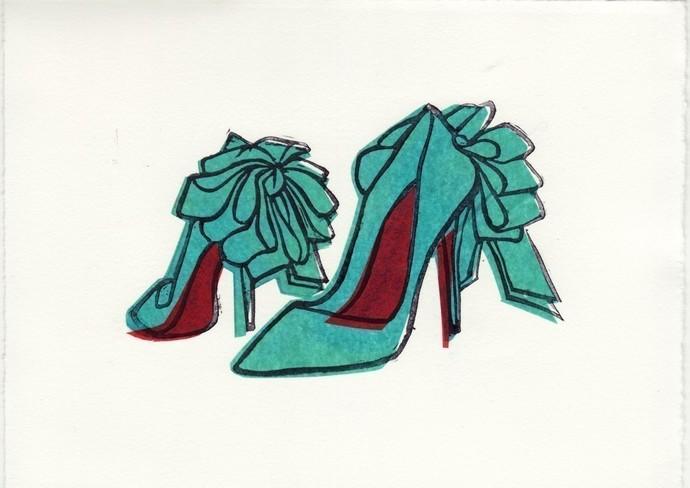 Christian Louboutin Anemone Bow Shoes Original Hand-Pulled Linocut Block Print 5