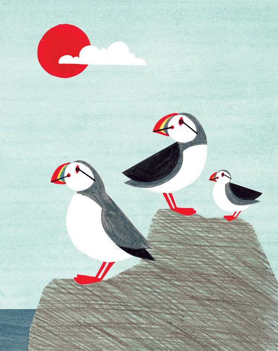 Puffin Family 5 x 7 Light Blue and Sun Illustration Archival Art Print for Any