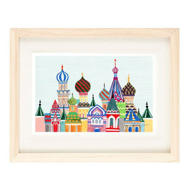 MOSCOW, RUSSIA - Russian Architecture 12 x 18 Colorful Illustration Art Print