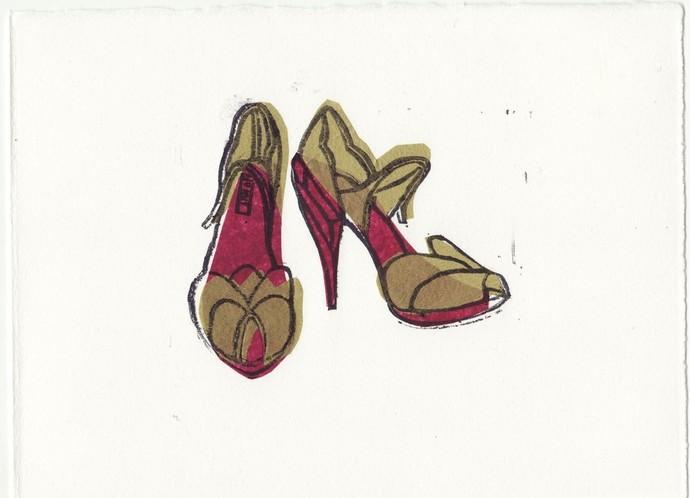 MIU MIU Shoes Original Loose Linocut Block Print 5 x 7
