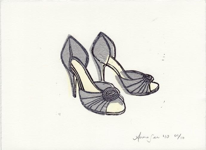 Manolo Blahnik D'Orsay Shoes linocut block print