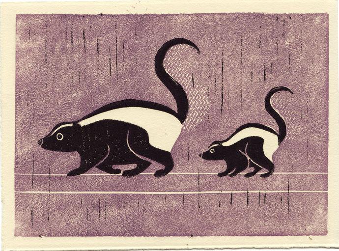 SKUNKS -  Original Hand-Carved Linocut Block Art Print, Woodland Creatures,