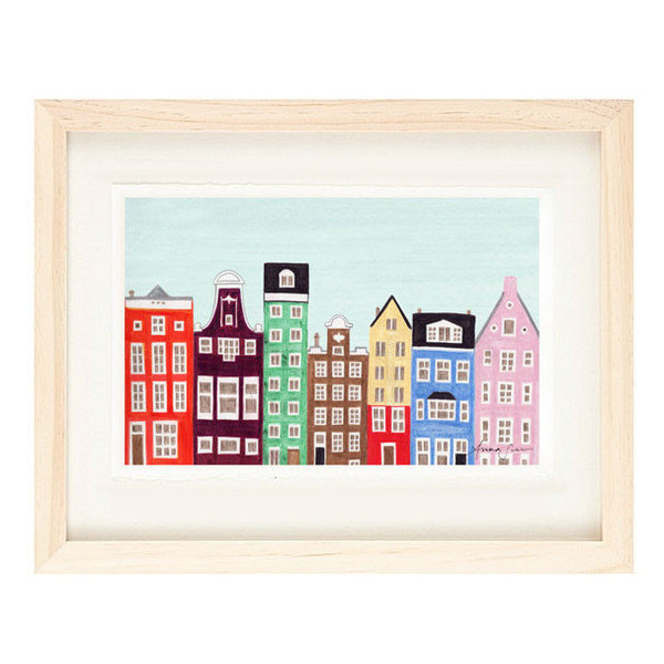 AMSTERDAM, NETHERLANDS - 5 x 7 Colorful Illustration Art Print, Scandinavian,