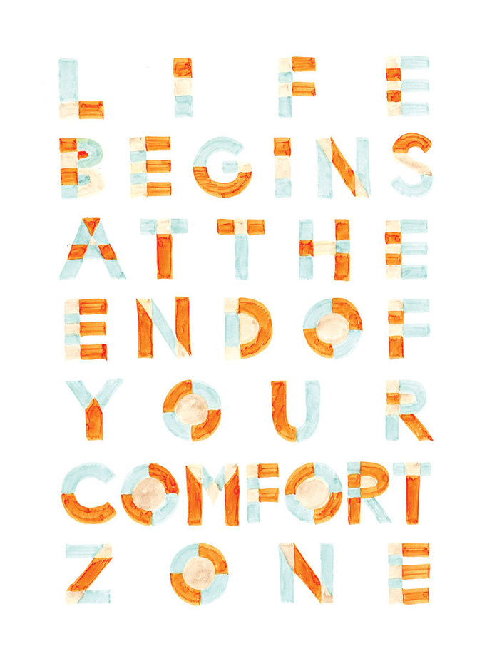 Life Begins At the End of Your Comfort Zone Handwritten Typography Inspirational