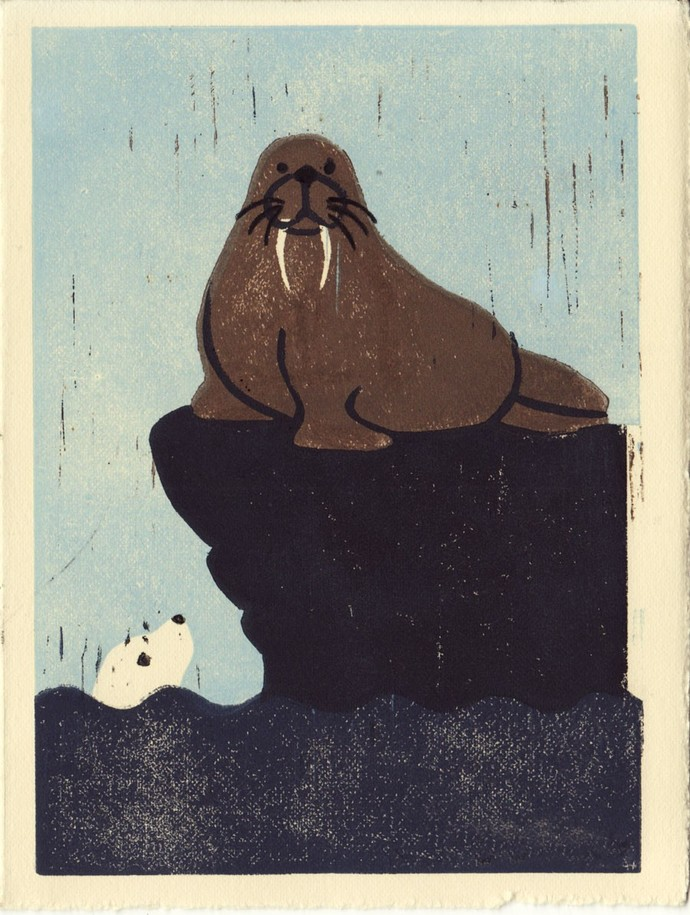 WALRUS AND SEAL -  Hand-Pulled Linocut Art Wood Block Print 5 x 7