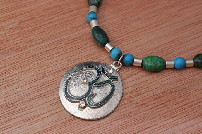 OM necklace with Australian jasper and turquoise